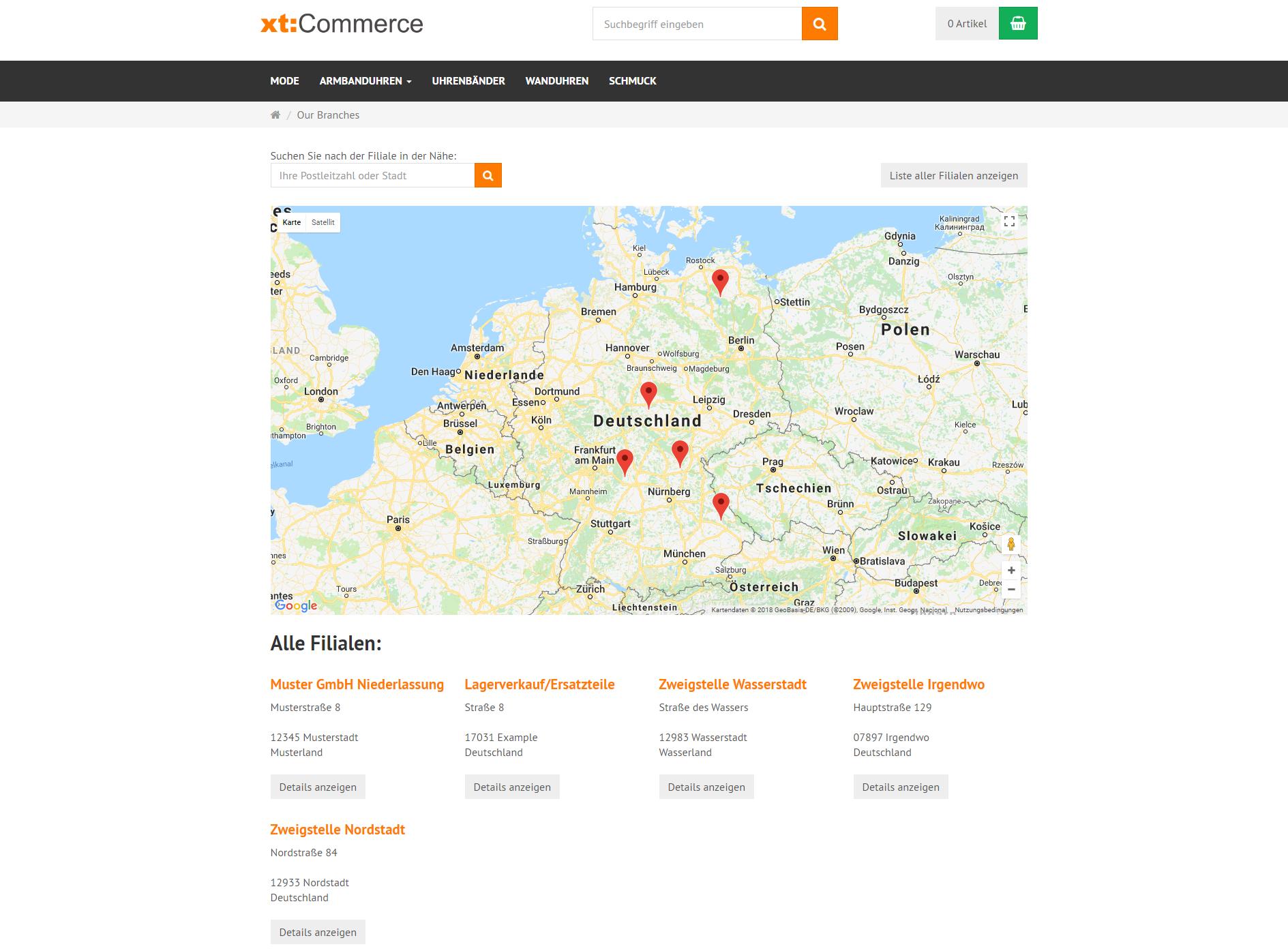 Filial-finder mit Google-Maps