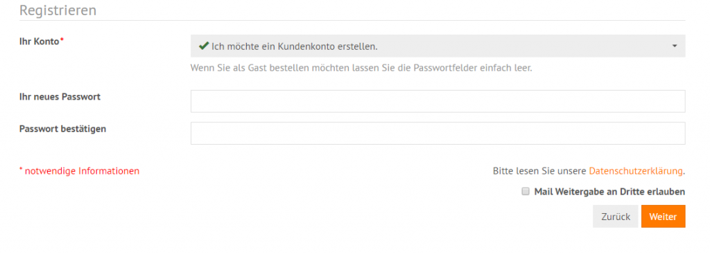DSGVO: Checkbox für Checkout & Login